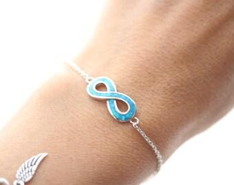 Blue Opal Bracelet, Blue Opal Infinity Bracelet. sterling silver infinity Bracelet, custom initial & birthstone optional. Opal Jewelry.