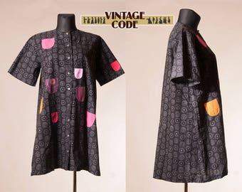 Marimekko Kihlatasku Glada Rocken Happy Coat dress  / Iloinen Takki Finnish Finland Suomi vintage dress / size Large to Plus