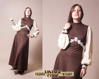 Dark Brown 70s vintage Maxi Dress / Crimplene maxi dress / Formal dress / Hostess  Boho dress 70s 60s vintage / size small