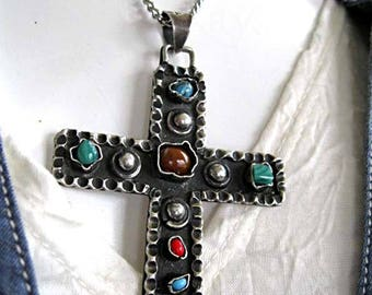 Sterling Cross Taxco Mexico Pendant, Gemstone Nuggets, Turquoise, Malachite, Coral, Unisex, Oxidized Silver, 24 Grams, 17-inch Chain