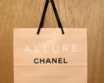Vintage 1990s Allure by Chanel Perfume Promotional Large Paper Shopping Bag Designer Fragrance Collectible