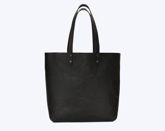 NO. 14 Black Leather Tote, Leather Tote, Black Leather Bag, Large Leather Shopper, Minimal Leather Bag, Work Bag, Women Leather Bag