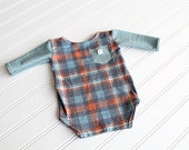 Felix - newborn long sleeve body suit romper in a dusty turquoise blue teal with burnt orange, charcoal grey and white plaid (RTS)