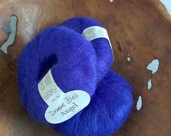 Mohair yarn destash Super kid mohair Kid Mohair yarn Debbie Bliss Luxurious yarns Blue mohair yarn ON SALE Silk mohair Clearance sale Indigo