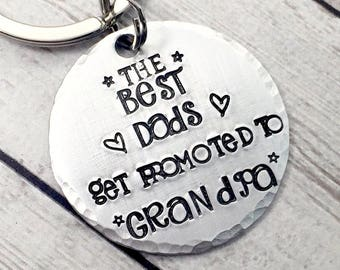 Christmas Gift for Grandpa - Best Dads Get Promoted to Grandpa - Grandfather Gift - Grandpa Keychain - Gift from Grandkids