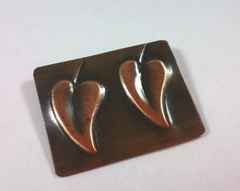 Robert Rebajes Copper Brooch - Mid Century Modern Jewellery - Rectangle with Leaves PIn
