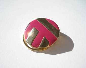 Vintage Gold Clip On Circle Scarf Ring - Fuschia Enamel Pinless Brooch - Costume Jewelry Brooch 1970s