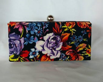 Floral minaudiere clutch/ Wedding clutch purse/ Bridal shower gift/ Customized box clutch/Black floral evening clutch purse/ Gift for her
