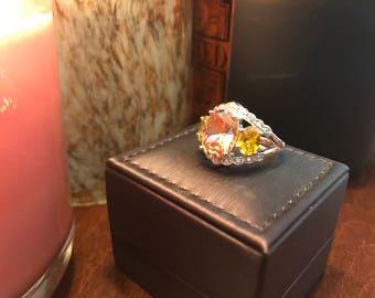 Peach Sapphire and Citrine Ring