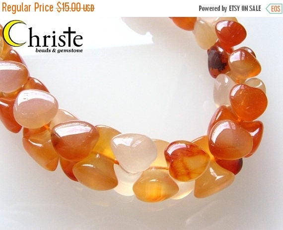 SALE Carnelian heart criss cross beads 9x9x10mm 1/2 strand (7 inch)