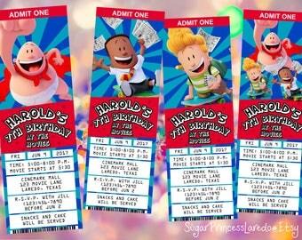 Captain Underpants Movie Ticket Style Invitation - Printable Digital File