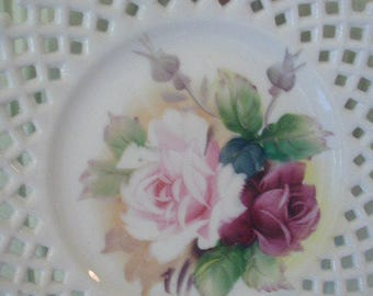 Vintage Milk Glass Decorative Plate, For Wall Hanging,  Shabby Cottage Decor, Pink and Red Roses, Reticulated Edge, Lefton China