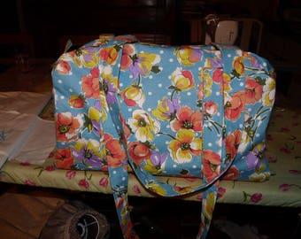 Turquoise polka dot vintage fabric bowling bag