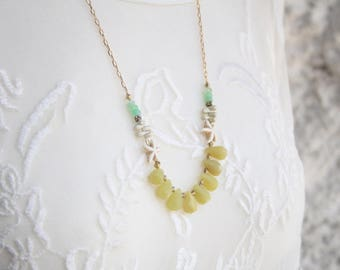 Tropical necklace, Summer necklaces, Summer beads necklace, Long gemstone necklace, Long green gemstone necklace, Colorful gemstone necklace