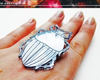 Metallic Acrylic Beetle Ring
