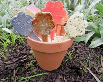 Ceramic Garden Markers,  Set of 3, Flower Shapes in Assorted Glaze Colors , YOUR CHOICE herb or vegetable