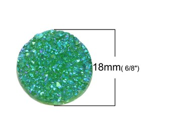 Resin druzy round green AB 18 mm cabochon