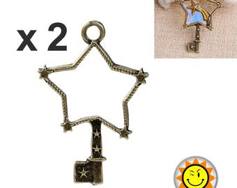 x 2 pendant setting for resin fimo polymer star bronze