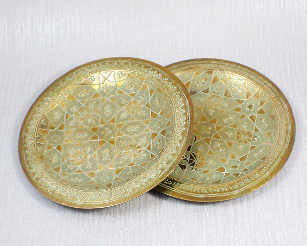 Pair of Round Brass Wall Hanging Decorative Plates with Ornate ...