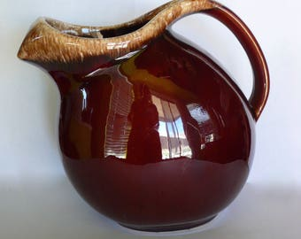 Vintage Hull Oven Proof USA Brown Drip Glaze Pitcher with Ice Lip