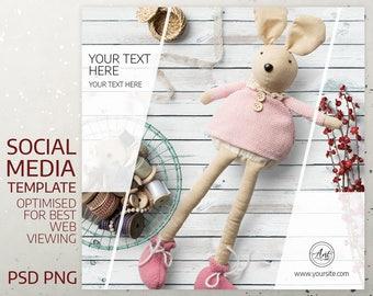 Instagram Template, Social Media Template Social Media Marketing, Feminine Design. Brand Design, DIY Design, Frame, Graphic Design, PNG, PSD