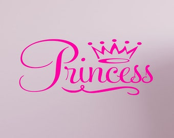 Princess Crown Wall Decal Quote Sticker Removable Nursery Decor Wand Art #1365