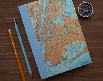 BOOK, New York, Manhattan, Brooklyn,handbound, 6x8,5 inch, 288 p., ruled, travel journal, diary, notebook, atlas, map, vintage, upcycling