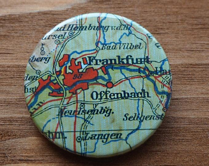 Pinback Button, Germany, Frankfurt, Ø 1.5 Inch Badge, Atlas, Travel, vintage, fun, typography, whimsical