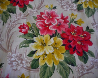 Vintage 1940's, 50's Gold, Taupe, Red, Pink Floral Cotton Fabric, BTY
