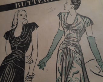 Vintage 1940's Butterick 3789 Evening Gown Sewing Pattern Size 14 Bust 32