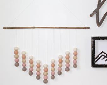 Neutral Pink Wall Hanging, Felt Ball Hanging, Neutral Decor, Felt Ball Decor, Gender Neutral Decor, Wall Hangings, Felt Balls, Wall Décor