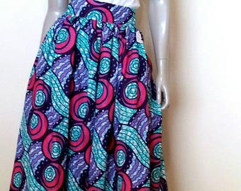 Beautiful Circles Multicolor Julius Holland Wax Print Skirt