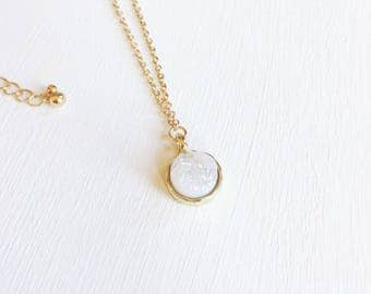 Simple White Druzy - Gold Necklace