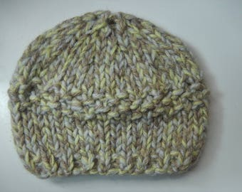 hand knitted baby hat / hand knit baby cap /  0-3 month knitted hat / green, grey and light brown