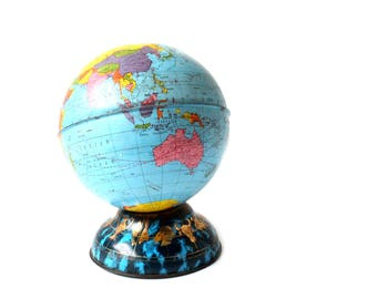 Vintage World Globe Metal Bank Ohio Art