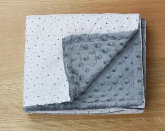 Grey and Silver Stars on White Baby & Toddler Minky Blanket ~ Made with Designer Cotton and Luxurious Grey Minky