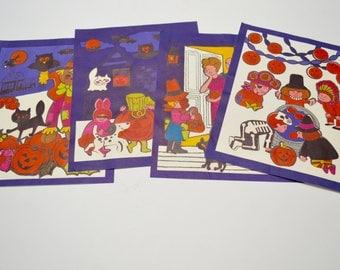 vintage halloween decorations: set of four Halloween sticker pictures, Hallmark