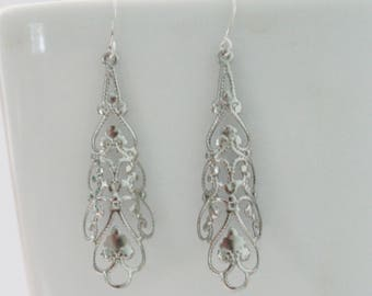 Filigree teardrop earrings, curved silver filigree delicate charm dangle earrings, victorian