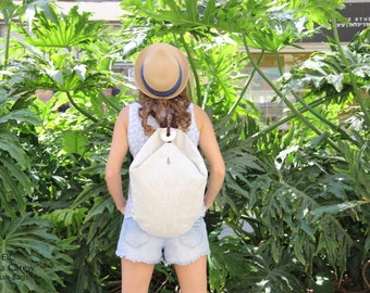 Waxed canvas backpack, Off White Canvas Backpack, Canvas Rucksack, Mens canvas backpack, Backpacks for women