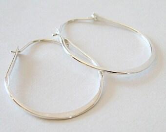 Sterling Silver Hoops, Teardrop Earrings, Medium, Hand Forged Hoops