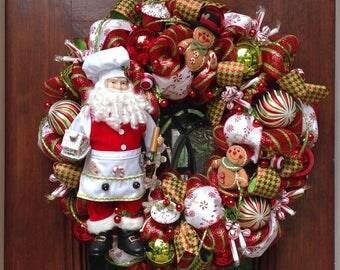 Large Whimsical Chef Santa Wreath