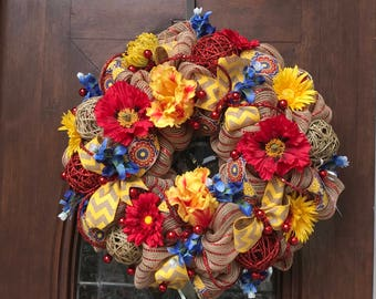 Yellow, Red and Blue Burlap and Mesh Wreath