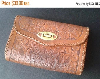 SALE Tooled Leather Purse Clutch Brown Vintage