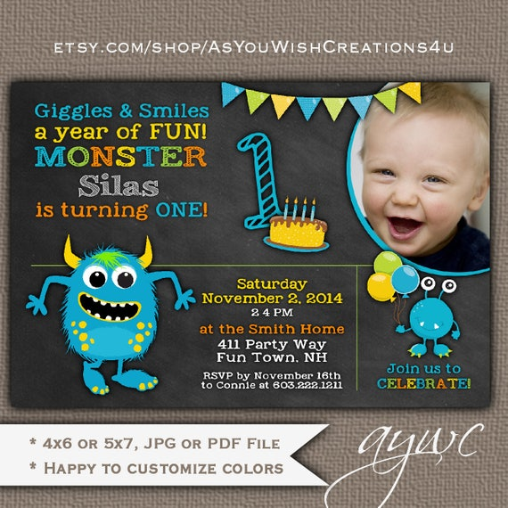 Monster birthday invitation first birthday monster party invitation il570xn filmwisefo