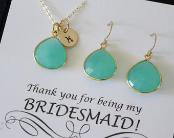 8 Green Initial Bridesmaid Necklace and Earring set, Bridesmaid Gift, Sea Foam Chalcedony, 14k Gold Filled, Monogram Jewelry, Personalized