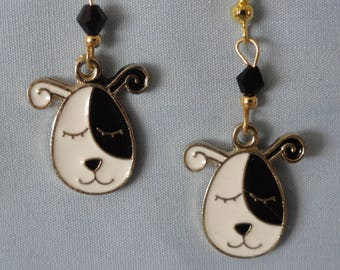 Black and White Dog Earrings