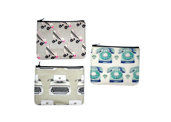 zipper pouch, cosmetic bag, change purse, retro, rollerskates, typewriter, telephone, vinyl