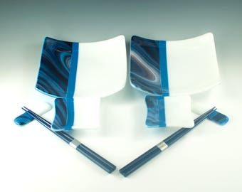 Foodie Hostess Gift, Sushi Set for 2, Blue and White Fused Glass, Square Dinner Plates, Dipping Sauce Bowls, Chopstick Rests, Chopsticks