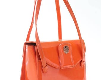 SALE Vintage 60s Engber purse orange Monogram MOD dress handbag kelly purse bag