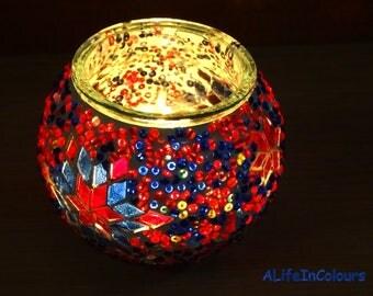 Unique handmade Turkish colourful glass mosaic candle holder, glass mosaic pencil holder, mosaic vase.